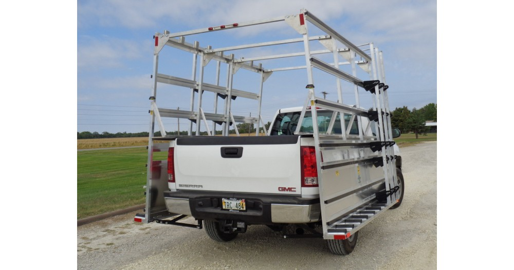 Unruh Fab Kansas Glass Transporting 9' Professional Pickup Rack On GMC Pickup 6