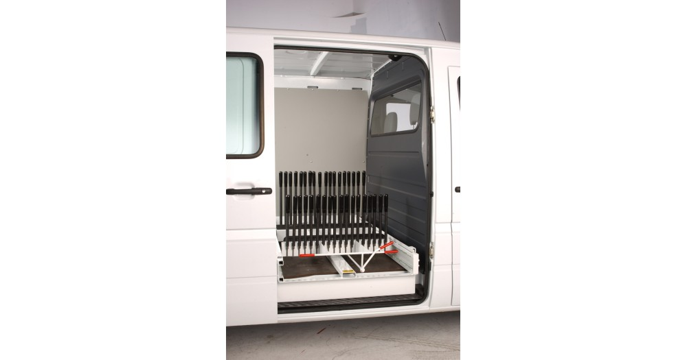 Unruh Fab Kansas Glass Transporting Ergonomic Van Bodies Van Side Rack