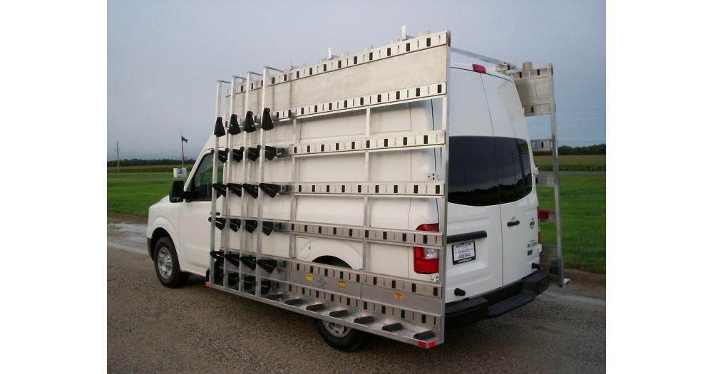 Unruh Fab Kansas Stone Transporting Nissan Van Racks 3