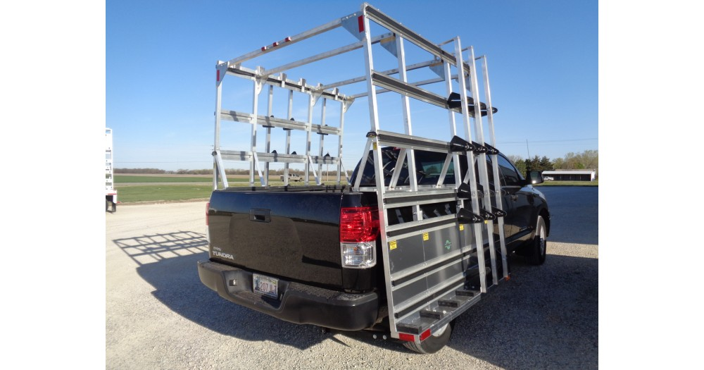 Unruh Fab Kansas Glass Transporting Pickup Rack On Toyato Tundra 2